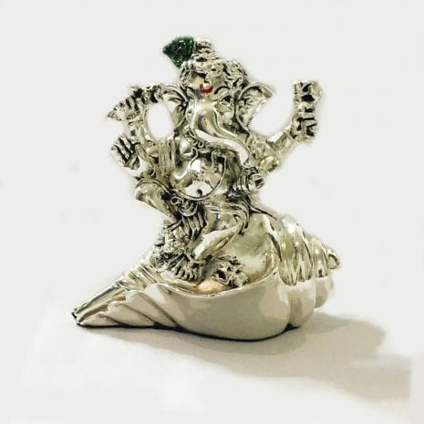 Silver Lord Ganesha on a Shankh – 3.5 Inch High – Resin Silver