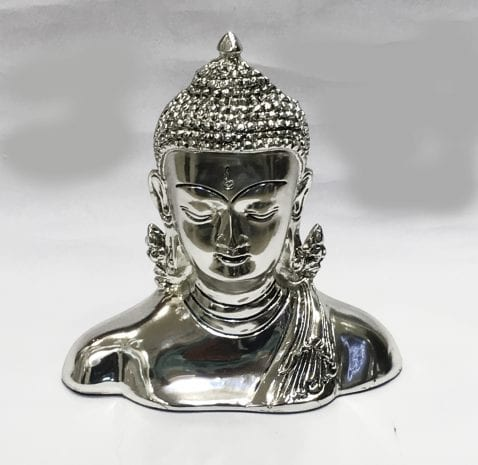 Fine Silver Buddha Head Gift 6″ – Resin Silver