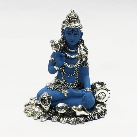 Silver Lord Shiva in a Sitting Ashirwad pose in Blue color – 3.2 Inch High – Resin Silver
