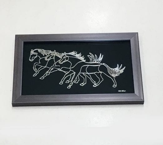 Gorgeous Silver Foil cutout of a Running Horses set on a Wood look frame – 10.5×6.7 Inch