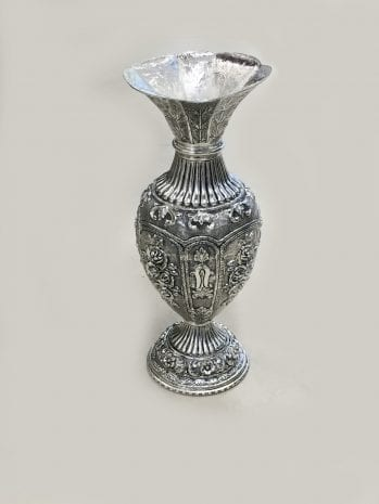Silver Plated Antique Ethnic Flower Vase – 11″