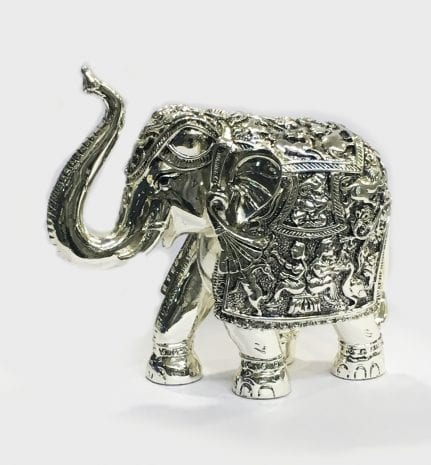 Silver Elephant Statue gift – trunk up in 6.2 inch Ht. … Resin Silver