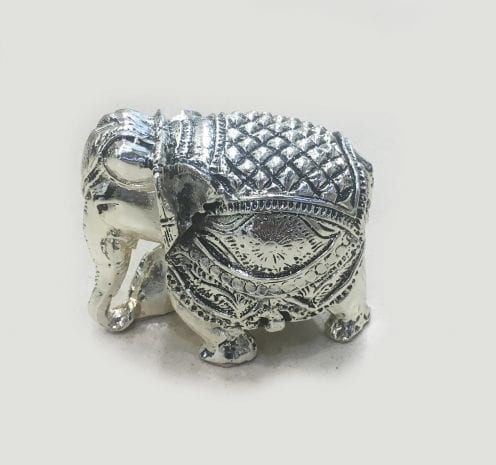 Small Silver Elephant Gift, trunk down Antique finish 2.75″ – Resin Silver