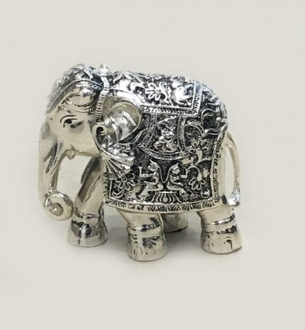 Best Silver Elephant Gift, trunk down Antique finish 4″ – Resin Silver