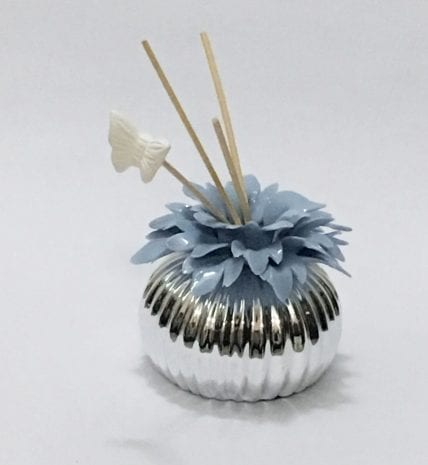 Silver Layered Ceramic Incense Diffuser Blue – 4 Inch