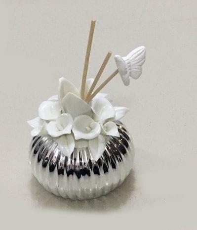 Silver Layered Ceramic Incense Diffuser White – 4 Inch