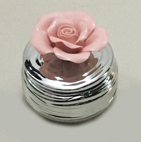 Silver Layered Ceramic Box with Pink Flower – 3 Inch