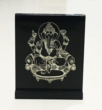 Artistic Cutout of a Silver Foil Ganesh and set on a Black Solid Acrylic Stand – 4.7 Inch