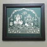 Buy Silver Foil Laxmi Ganesha set on a Wood finish frame – 8.2 Inch Long  Frame