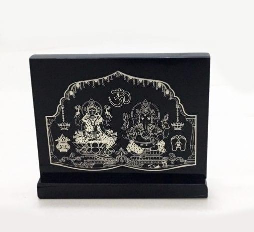 Unique Silver Foil Laxmi Ganesha set on a Black Solid Acrylic Stand – 4.5 Inch