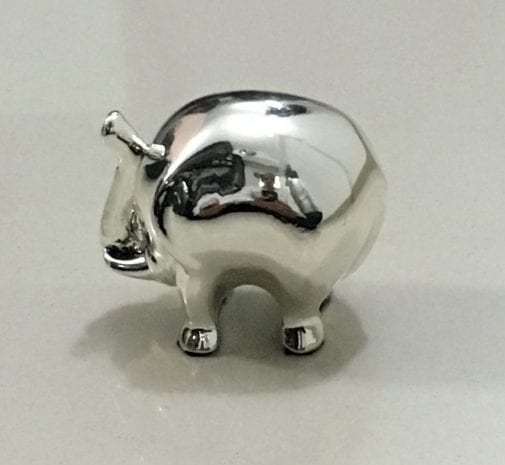 Modern Silver Elephant with price, High Polish Plain finish – 3.0″ Long – Resin Silver