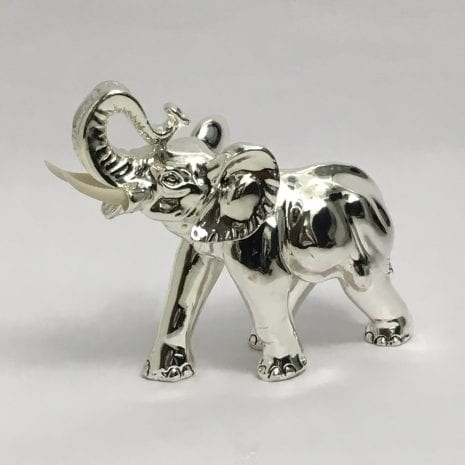 Buy Silver Elephant Sculpture, Trunk Up in High Polish 6.5″