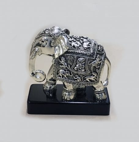 Antique Silver Elephant on a Black Wood Base – 8 Inch