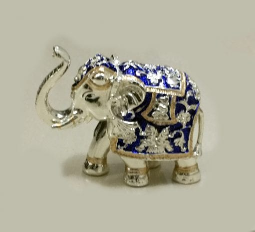 Buy Silver Elephant with trunk up in Blue Enamel finish – 5.2 inch Long … Resin Silver
