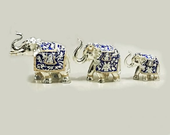 Set of Three Silver Elephants in Blue Enamel finish & in Three Different Sizes – Resin Silver