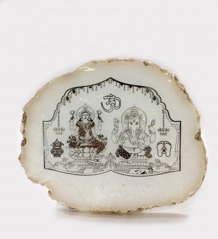 Real Silver Foil Laxmi Ganesh Photo Frame Gift Online – 5.2 Inch