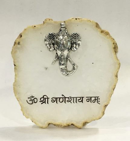 Small  Silver Elephant Head Tabletop Agate Stand – 4.5 Inch