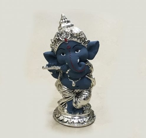 Silver Ganesh playing Bansuri Grey 5.7″ – Resin Silver