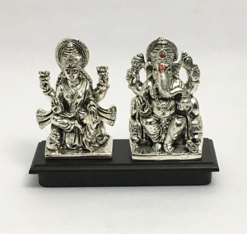 Buy Silver Laxmi Ganesh online | 5.2 Inch – Resin Silver