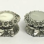 Silver Tealight Candle Holder Stand Pair in Flower design