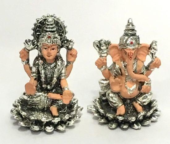 Small Silver Ganesh Laxmi Murti with Price – 2.7 Inch