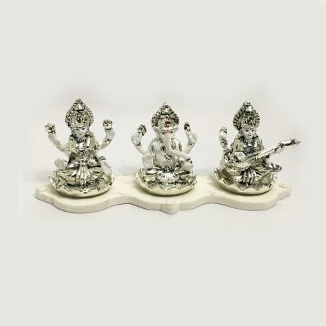 Pure Silver Laxmi Ganesh Saraswati Idol | 9 Inch Long