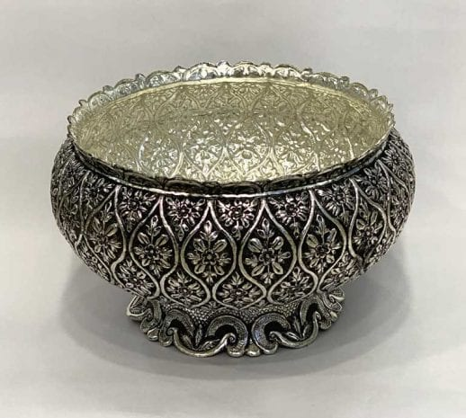 Large Silver Plated Bowl Embossed | 9.5″