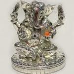 Silver Ganesha Statue in Sitting Pose   6.5″