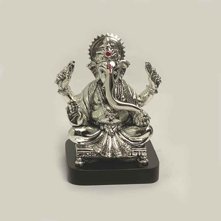 Silver Ganesh Idol for Home | 5.5 Inch