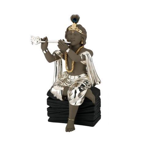 Murli Manohar Krishna in Silver in sitting pose – 44 cm Ht