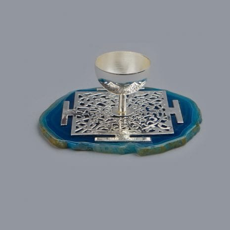 Mantra Diya on Agate – Silver Plated