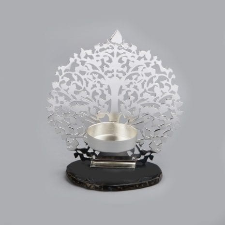 Tree of Life Tealight Holder Silver Plated – 5″ Ht.