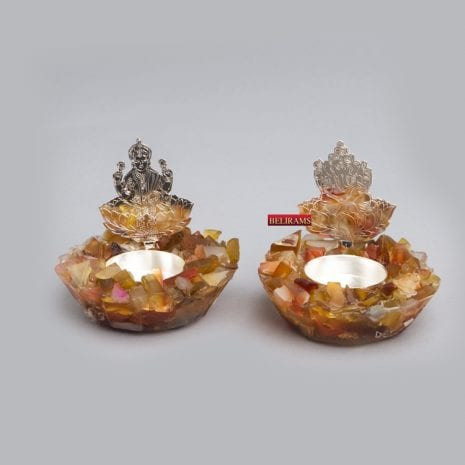 Silver Laxmi Ganesh Tealight Pair on Stones