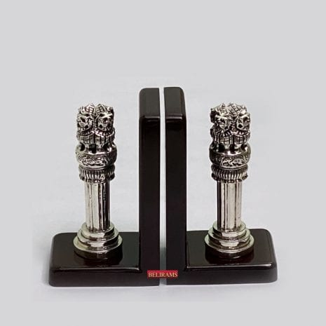 Fine Silver Ashoka Pillar Bookends| 6″ Ht.