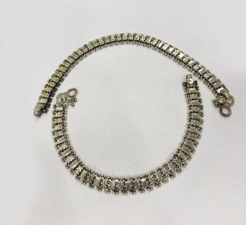 Antique Solid Silver Anklet Pair