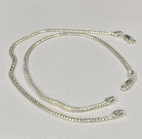 925 Fine Silver Anklet Pair