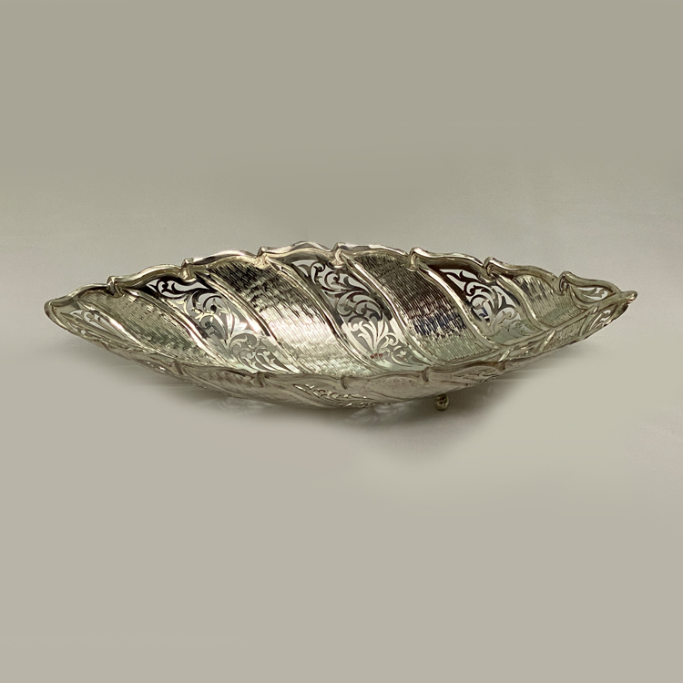 Leaf Shape Long Silver Dish | 13.2″