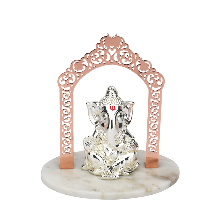 Silver Lord Vigneshwara Ganesh Mandir | 21 cm