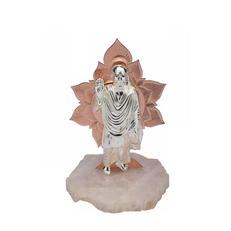 A Silver Sai Baba Divine Bloom  | 22 cm