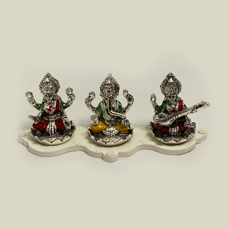 Silver Laxmi Ganesh Saraswati Enamel | 9 Inch Long