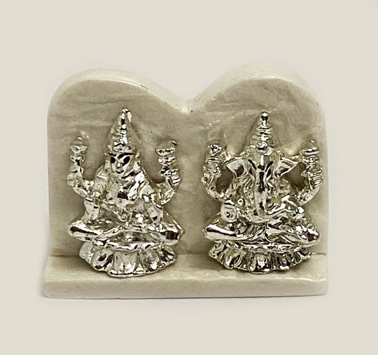 Cute Mini Silver Laxmi Ganesh Pair | 2.2 Inch