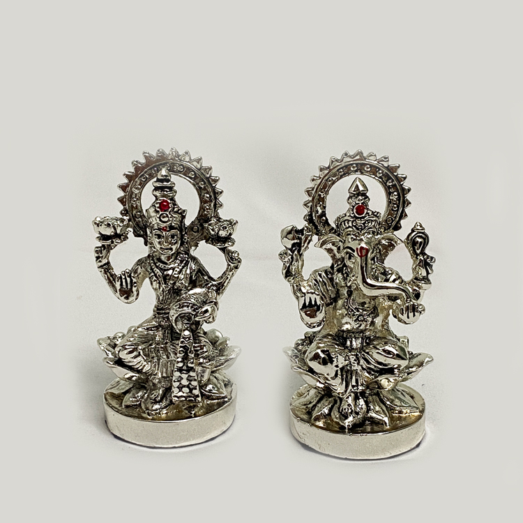 Buy Mini Silver Laxmi Ganesh Pair | 3.0 Inch