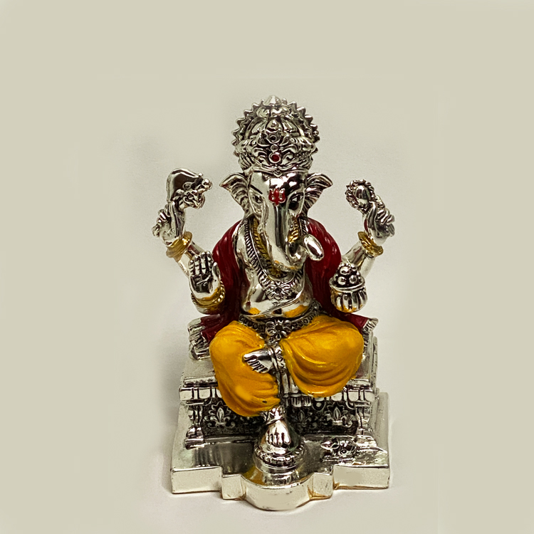 Buy Silver Ganesh Idol with Enamel | 6 Inch