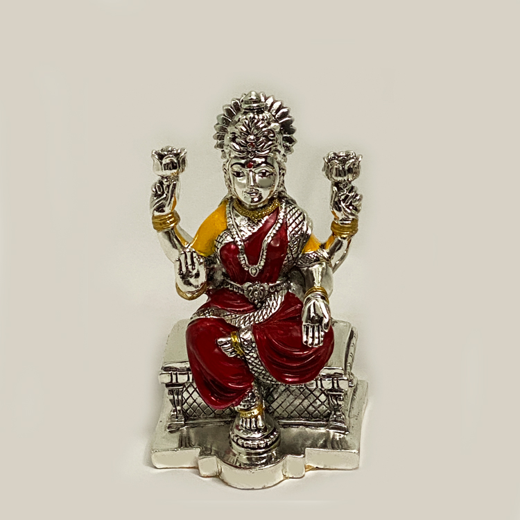 Gorgeous Silver Laxmi Statue on Chowki | 6.0 Inch
