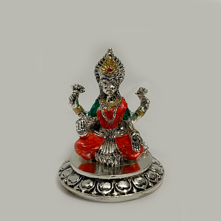 A Silver Laxmi Idol on Round Base | 4.2 Inch