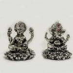 Cute Silver Laxmi Ganesh Statue | 2.2 Inch