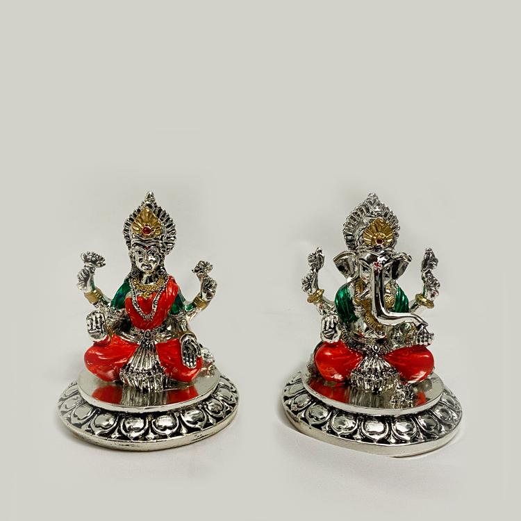A Silver Laxmi Ganesh Murti Pair Color | 4.2 Inch