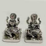 A Miniature Silver Laxmi Ganesh Pair | 2.5 Inch