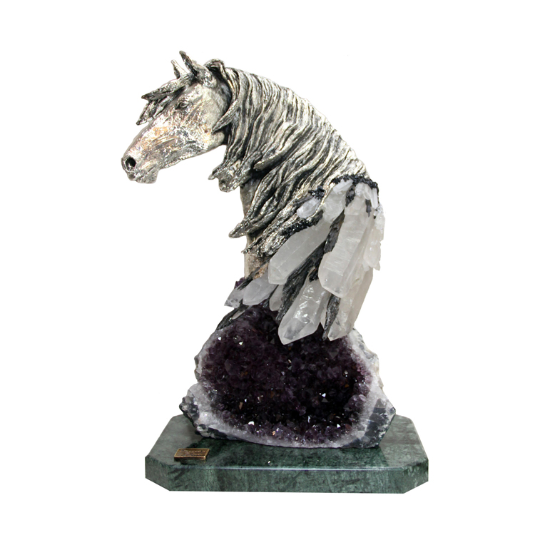 Royal Horse on Real Amethyst Base | 19″