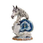 Gorgeous Silver Horse Quartz Clock | 14″